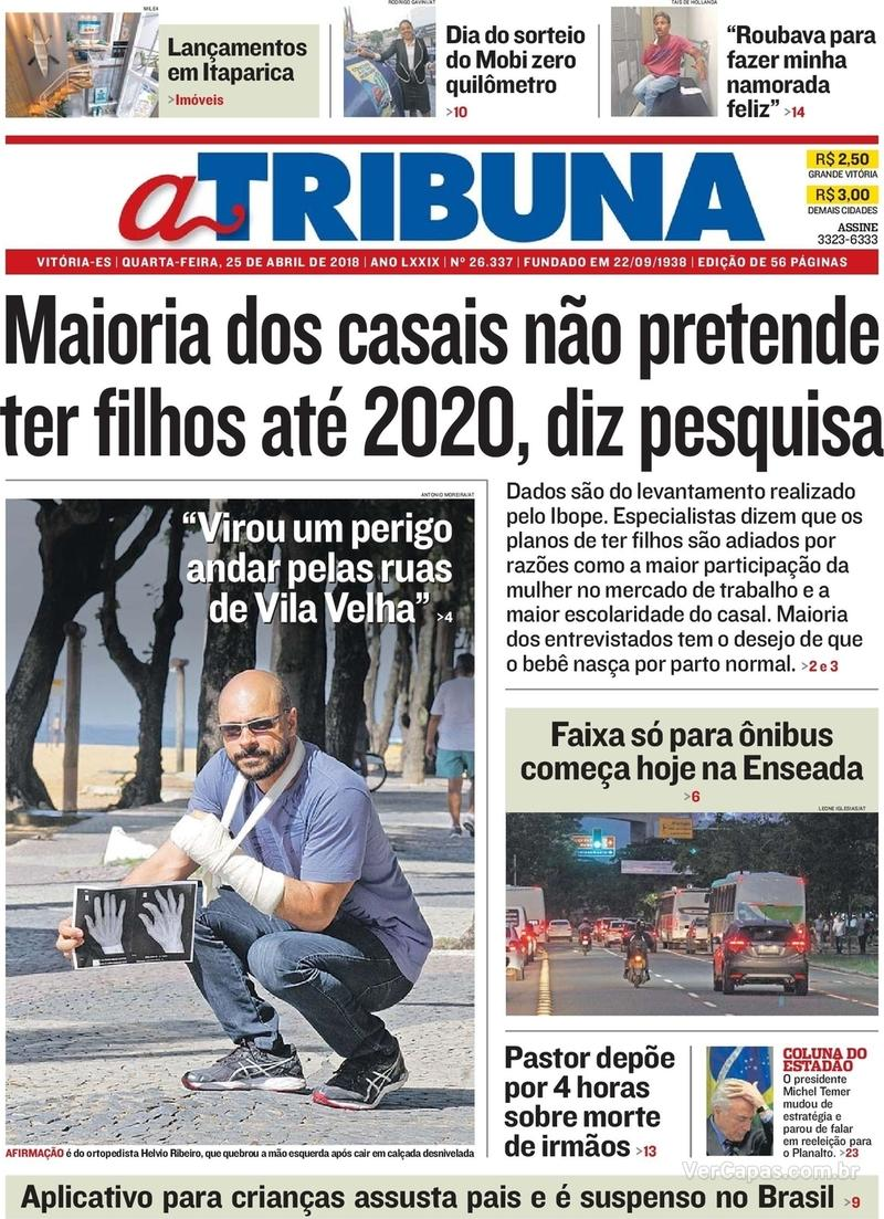 Capa A Tribuna 2018-04-25
