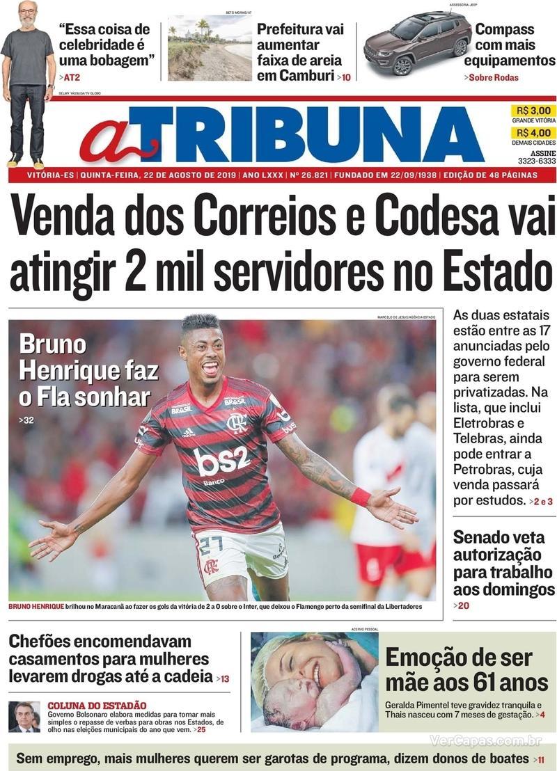 Capa jornal A Tribuna