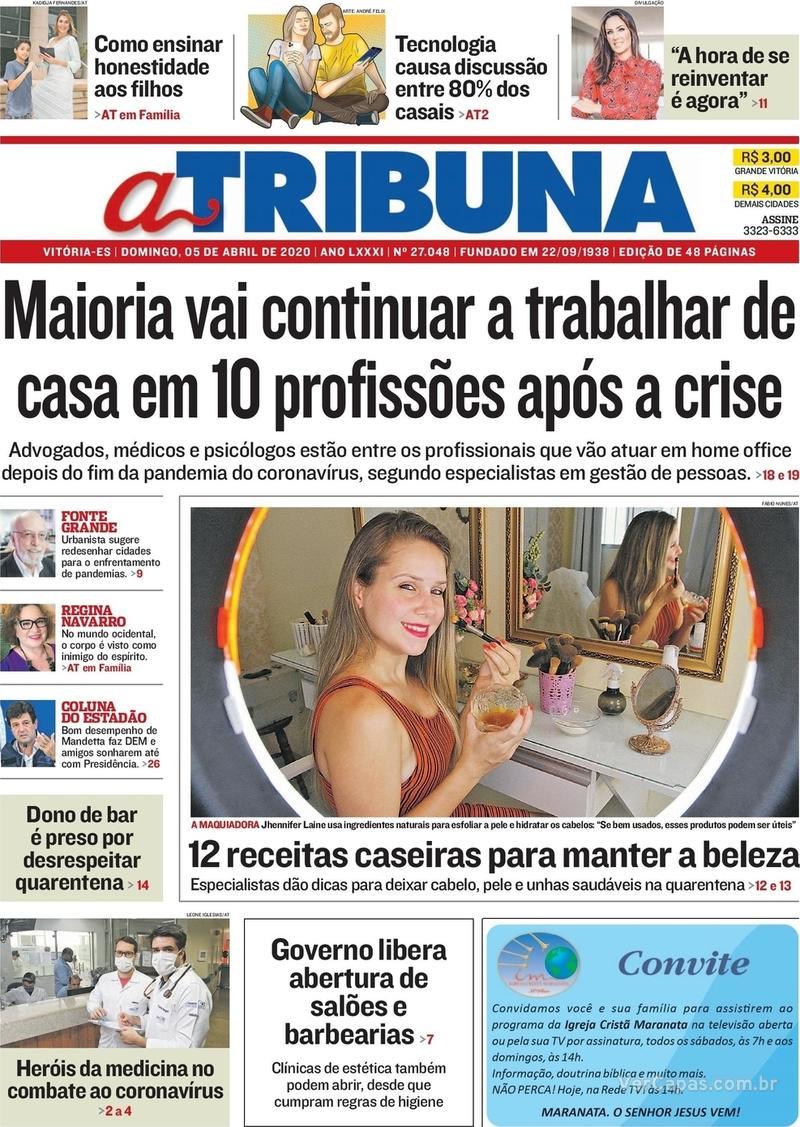Capa do jornal A Tribuna 05/04/2020