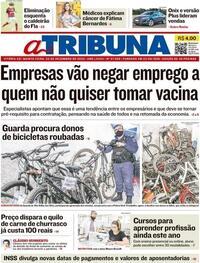 Capa do jornal A Tribuna 03/12/2020
