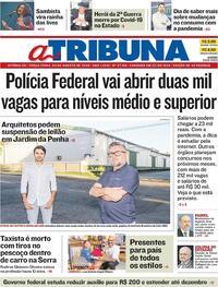 Capa do jornal A Tribuna 04/08/2020