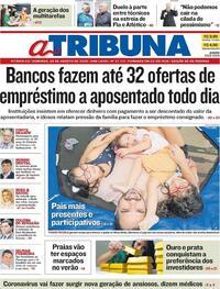 Capa do jornal A Tribuna 09/08/2020
