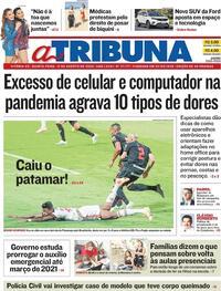 Capa do jornal A Tribuna 13/08/2020