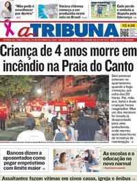 Capa do jornal A Tribuna 20/10/2020