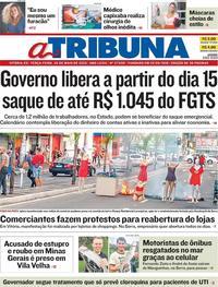 Capa do jornal A Tribuna 26/05/2020