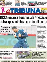 Capa do jornal A Tribuna 29/10/2020