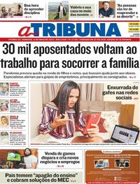 Capa do jornal A Tribuna 31/05/2020