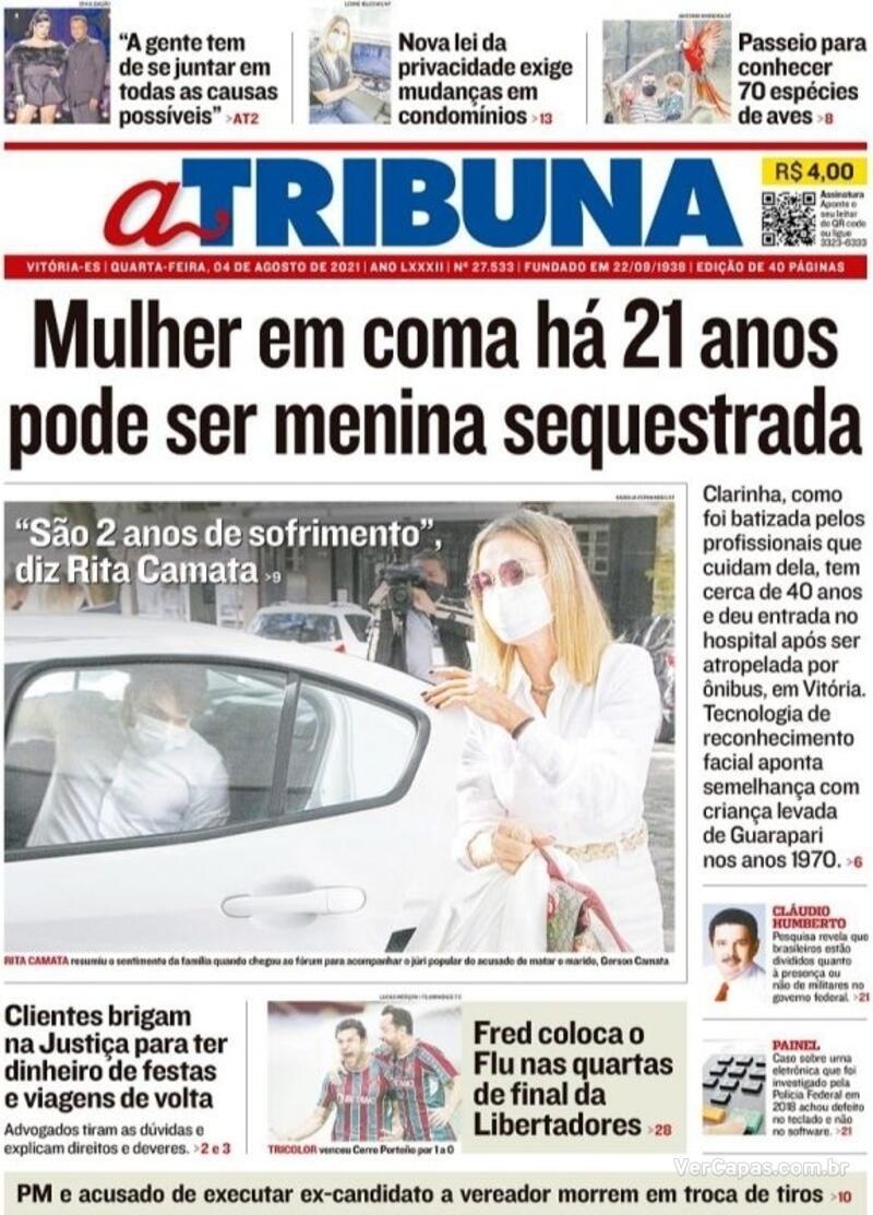 Capa do jornal A Tribuna 04/08/2021