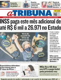 Capa do jornal A Tribuna 14/05/2021