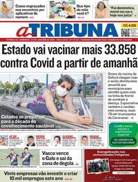 Capa do jornal A Tribuna 24/01/2021