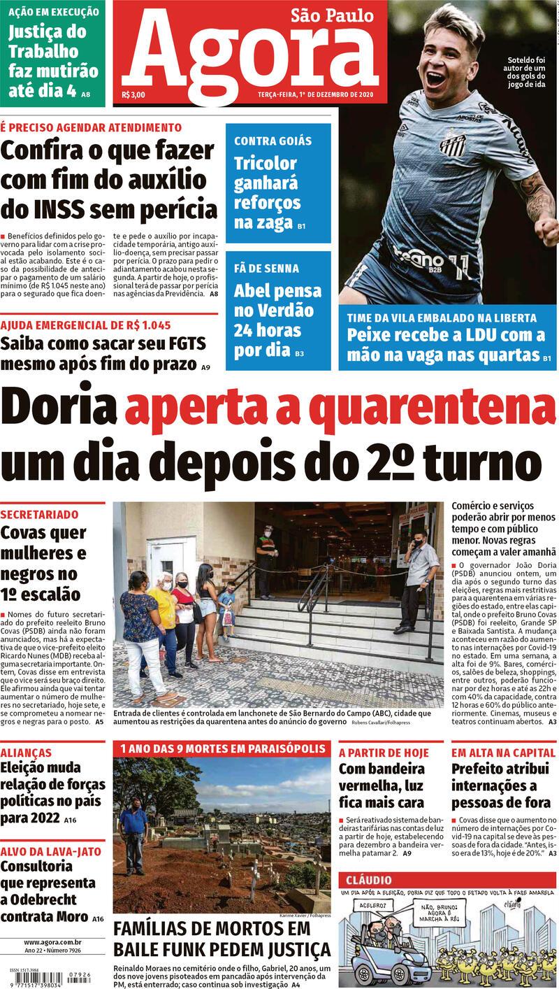 Capa do jornal Agora 01/12/2020