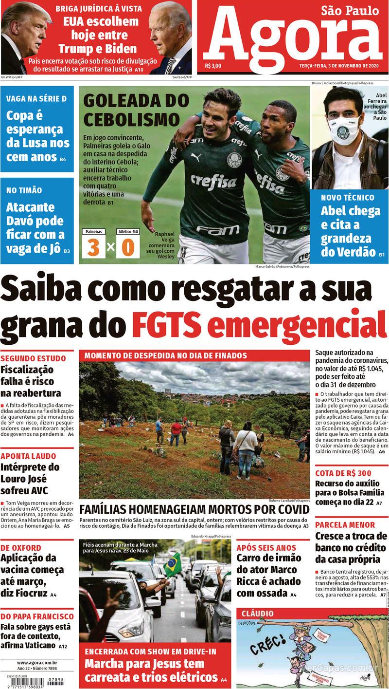 Capa do jornal Agora 03/11/2020