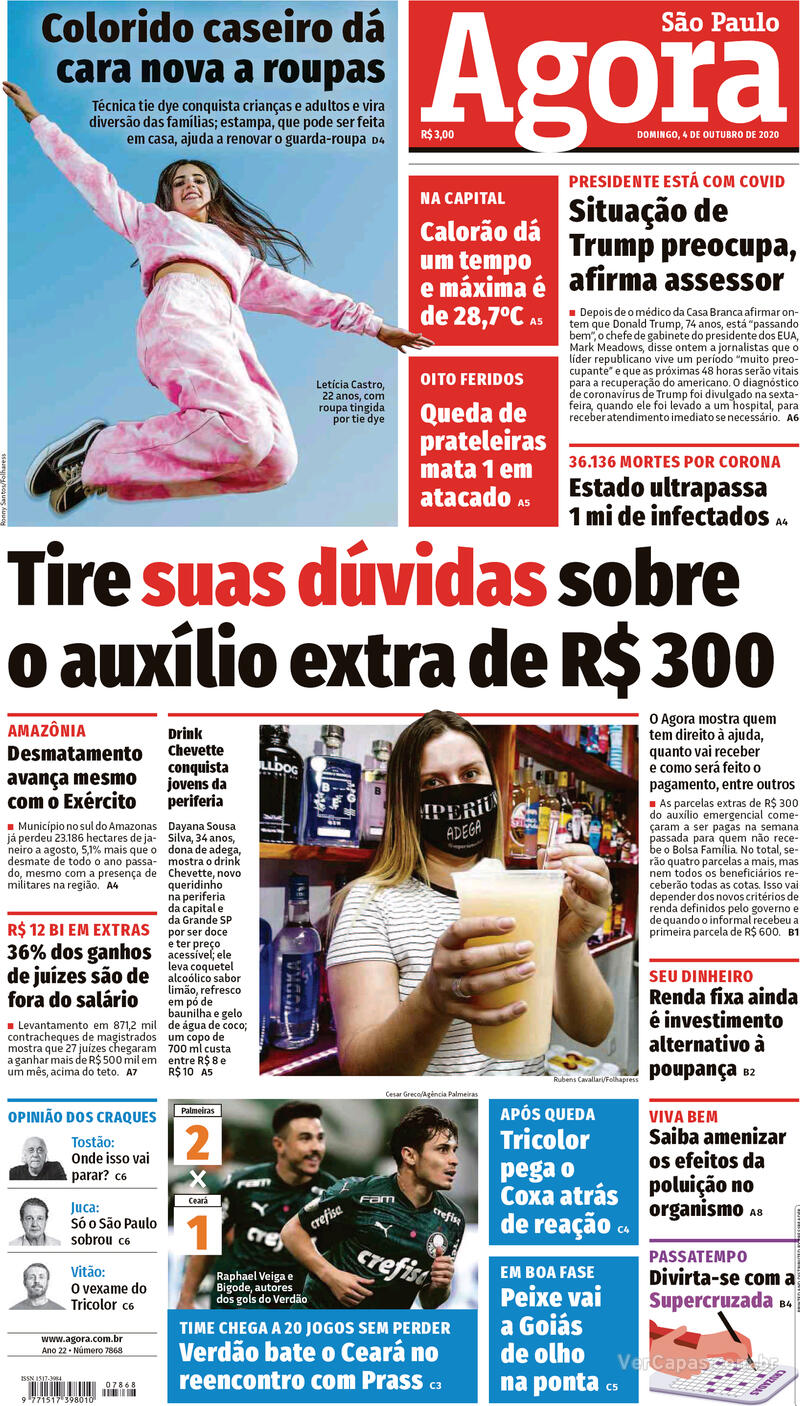 Capa do jornal Agora 04/10/2020