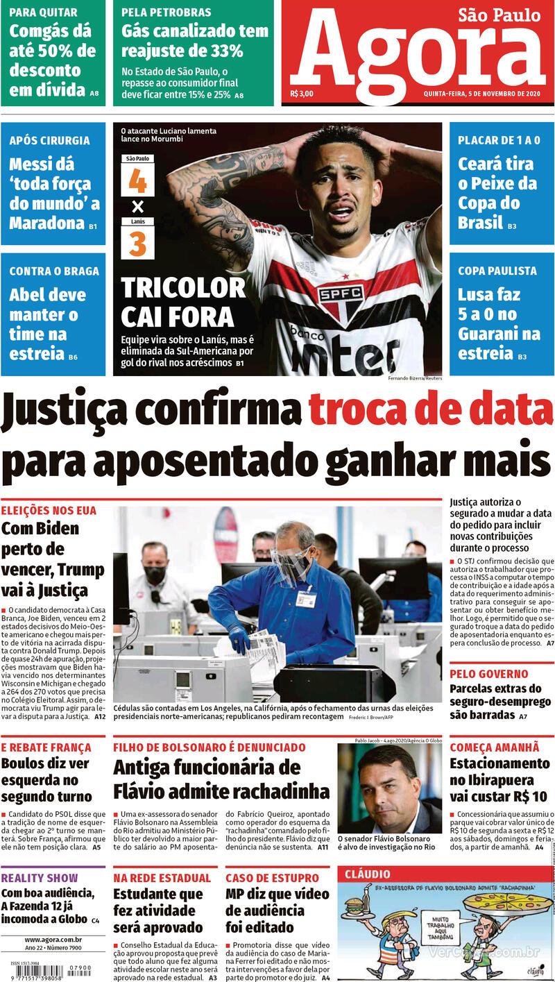 Capa do jornal Agora 05/11/2020