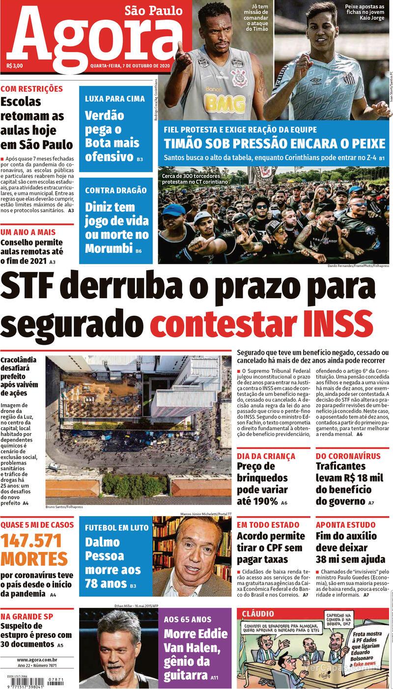 Capa do jornal Agora 07/10/2020