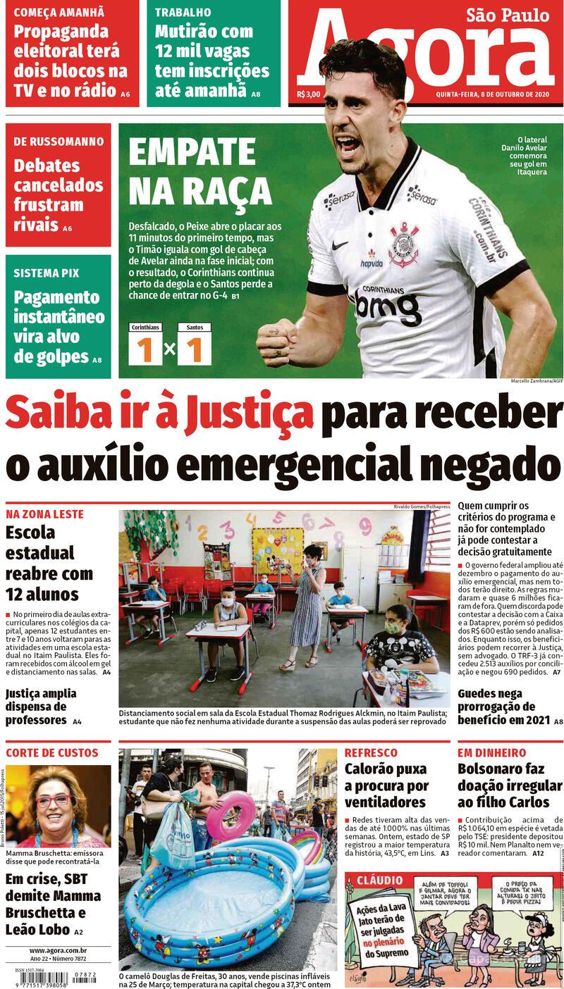 Capa do jornal Agora 08/10/2020