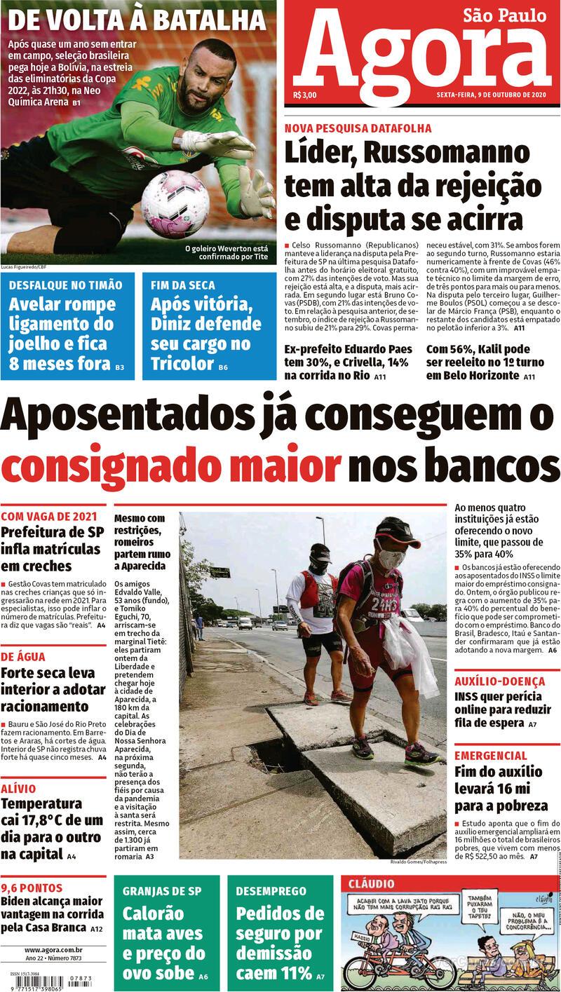 Capa do jornal Agora 09/10/2020