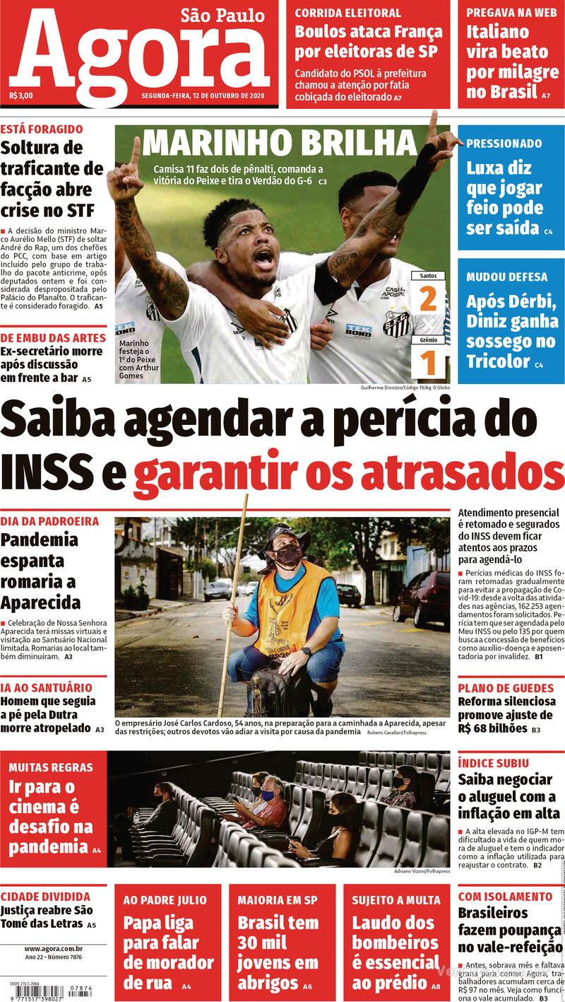 Capa do jornal Agora 12/10/2020