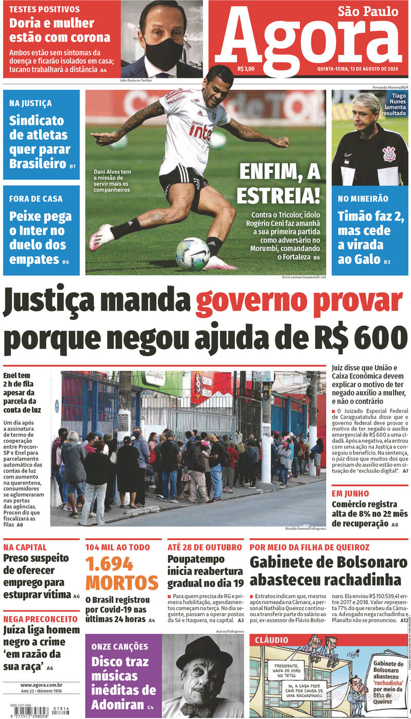Capa do jornal Agora 13/08/2020