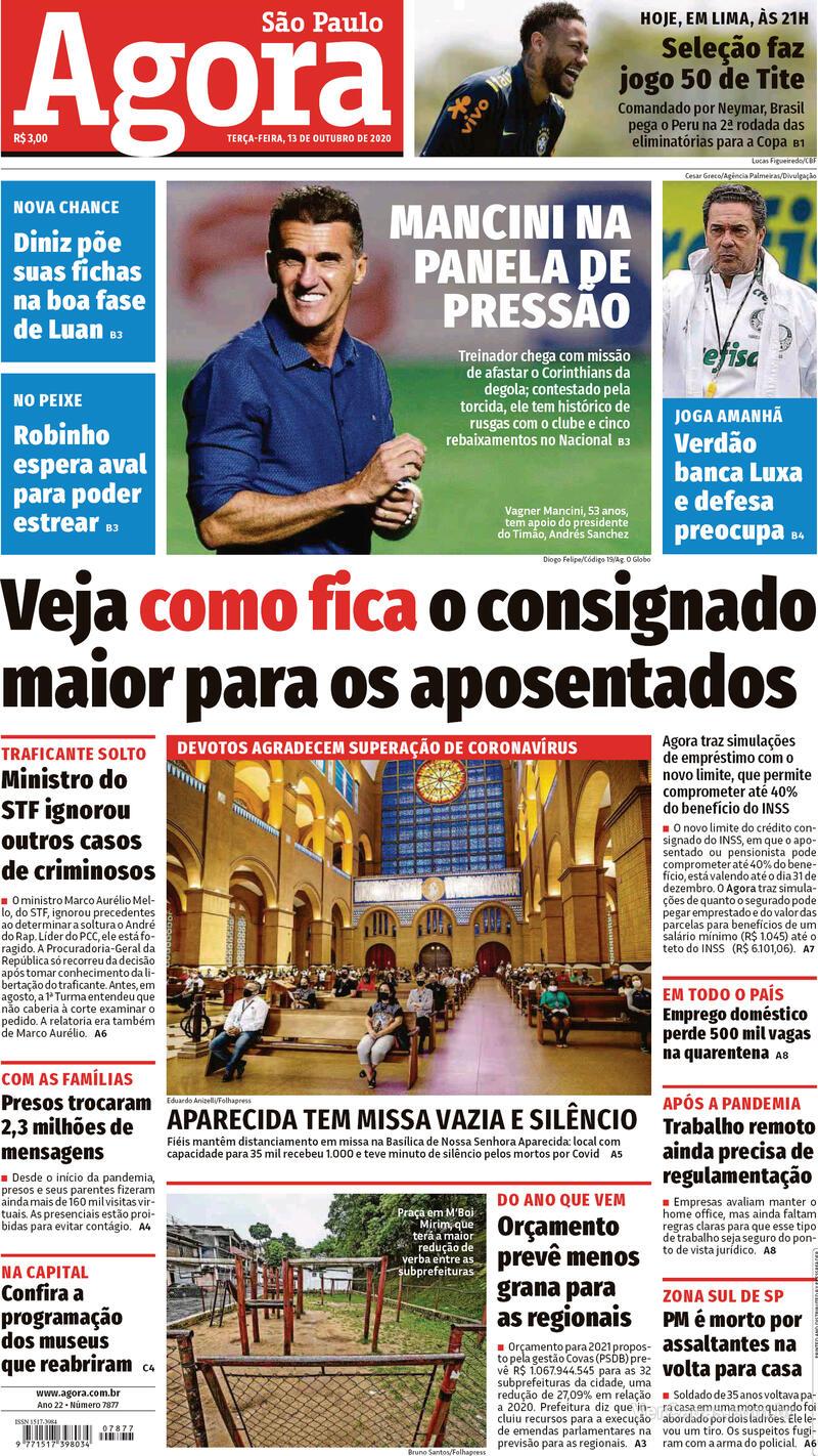 Capa do jornal Agora 13/10/2020