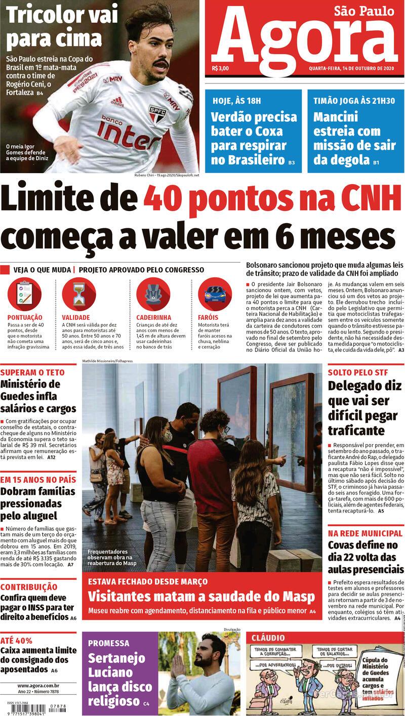 Capa do jornal Agora 14/10/2020