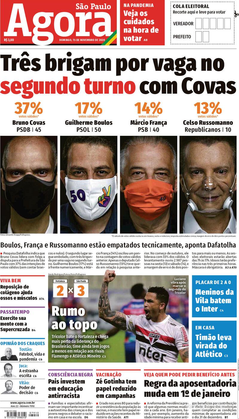Capa do jornal Agora 15/11/2020