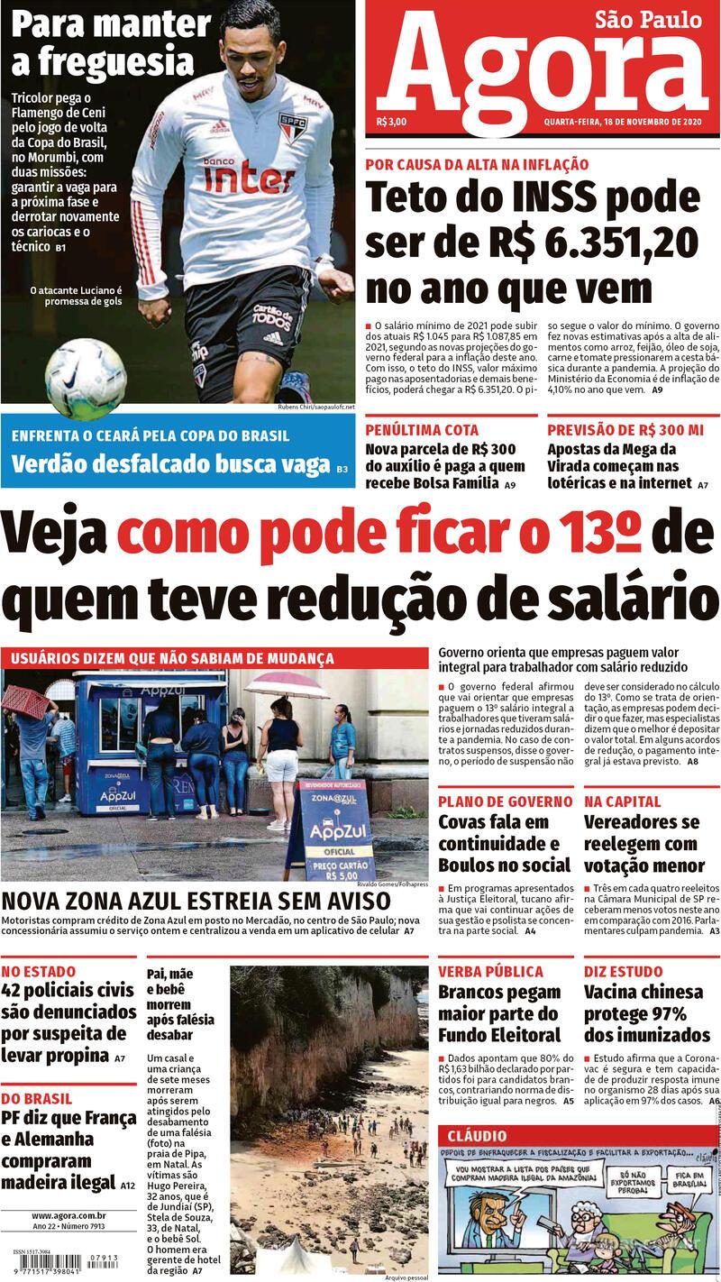 Capa do jornal Agora 18/11/2020