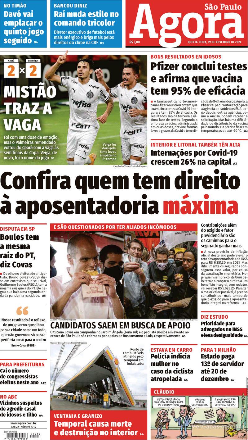 Capa do jornal Agora 19/11/2020