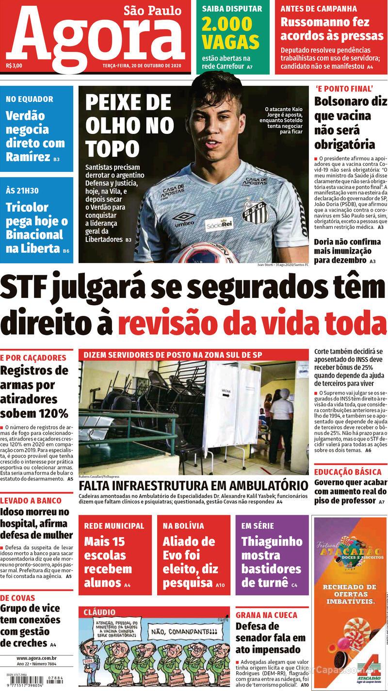 Capa do jornal Agora 20/10/2020