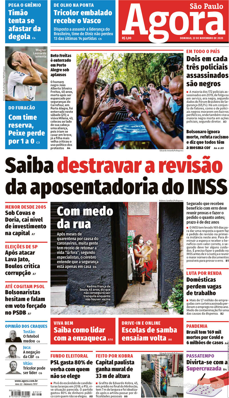 Capa do jornal Agora 22/11/2020