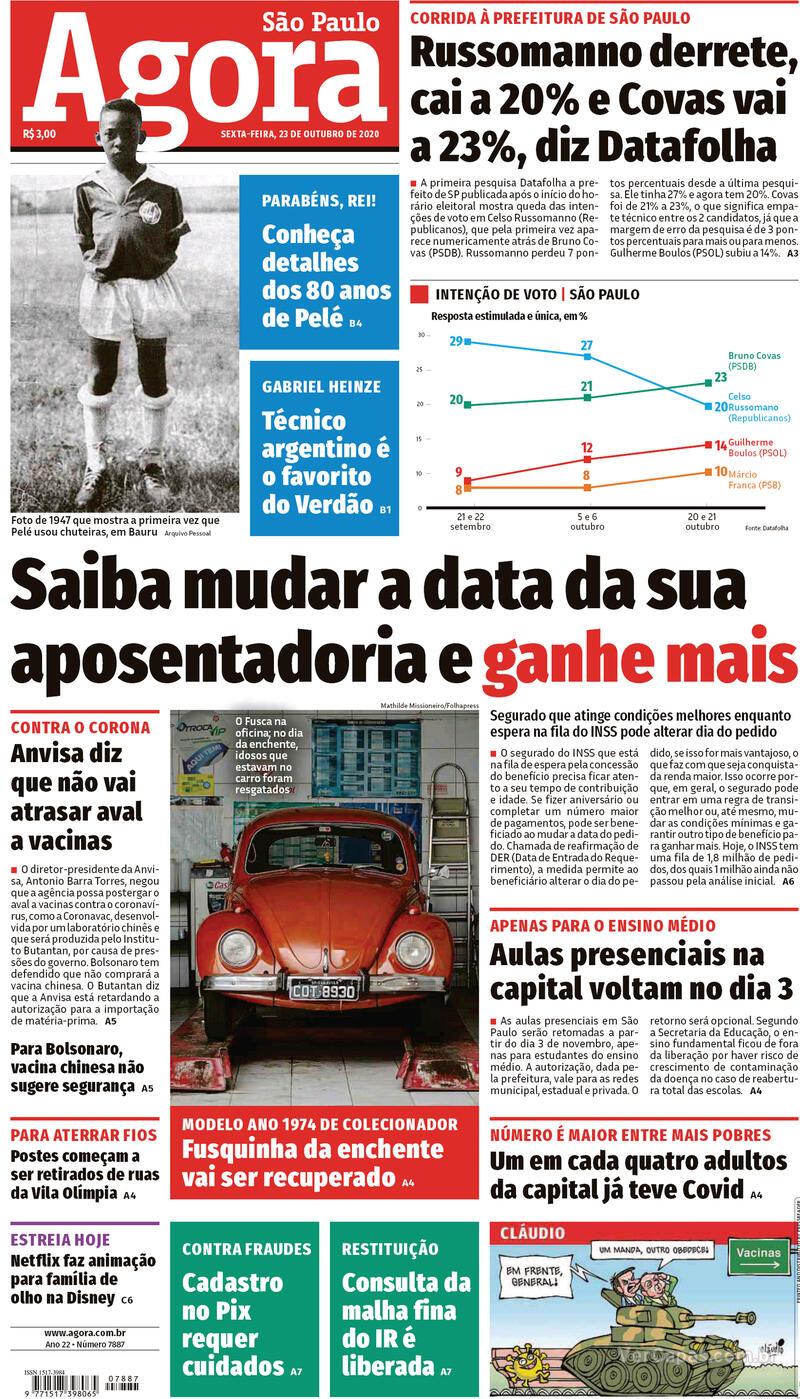 Capa do jornal Agora 23/10/2020