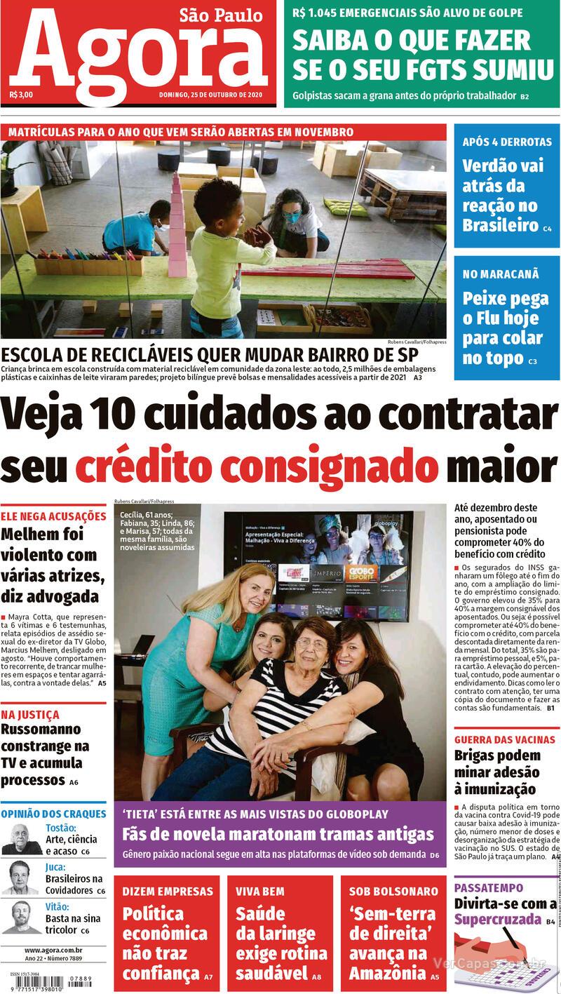 Capa do jornal Agora 25/10/2020