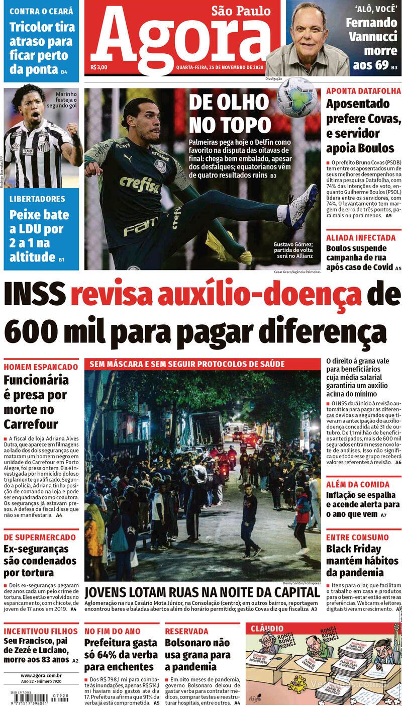 Capa do jornal Agora 25/11/2020