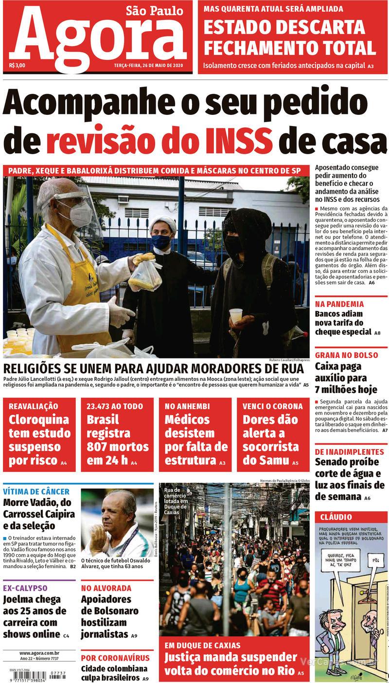 Capa do jornal Agora 26/05/2020