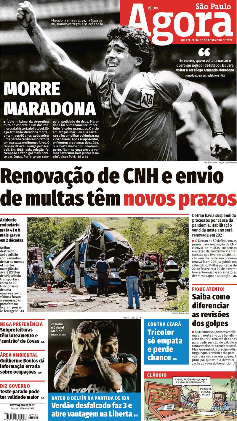 Capa do jornal Agora 26/11/2020