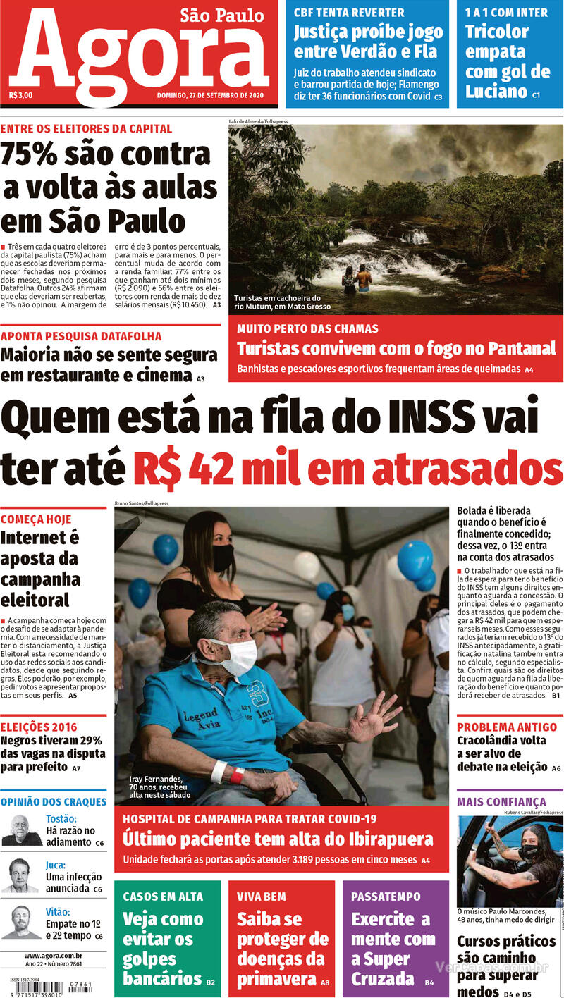 Capa do jornal Agora 27/09/2020