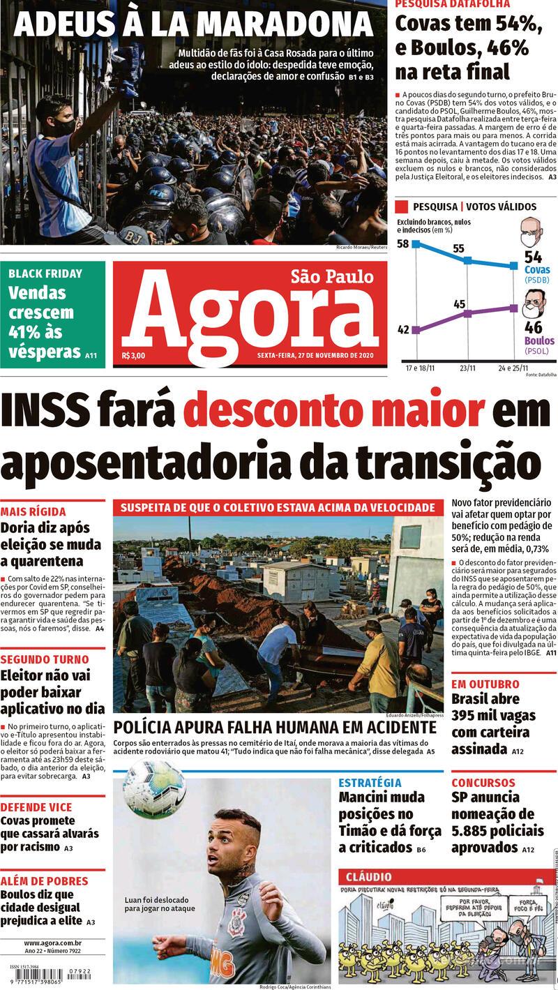 Capa do jornal Agora 27/11/2020