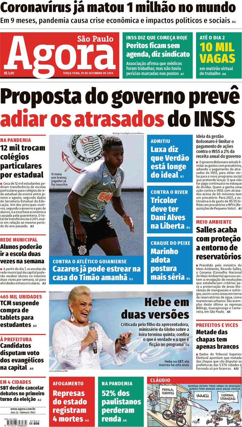 Capa do jornal Agora 29/09/2020