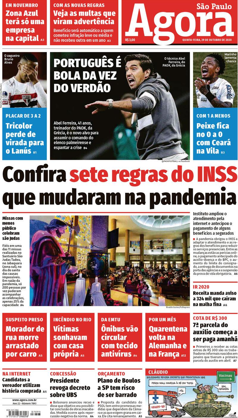Capa do jornal Agora 29/10/2020