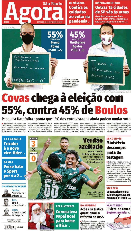 Capa do jornal Agora 29/11/2020