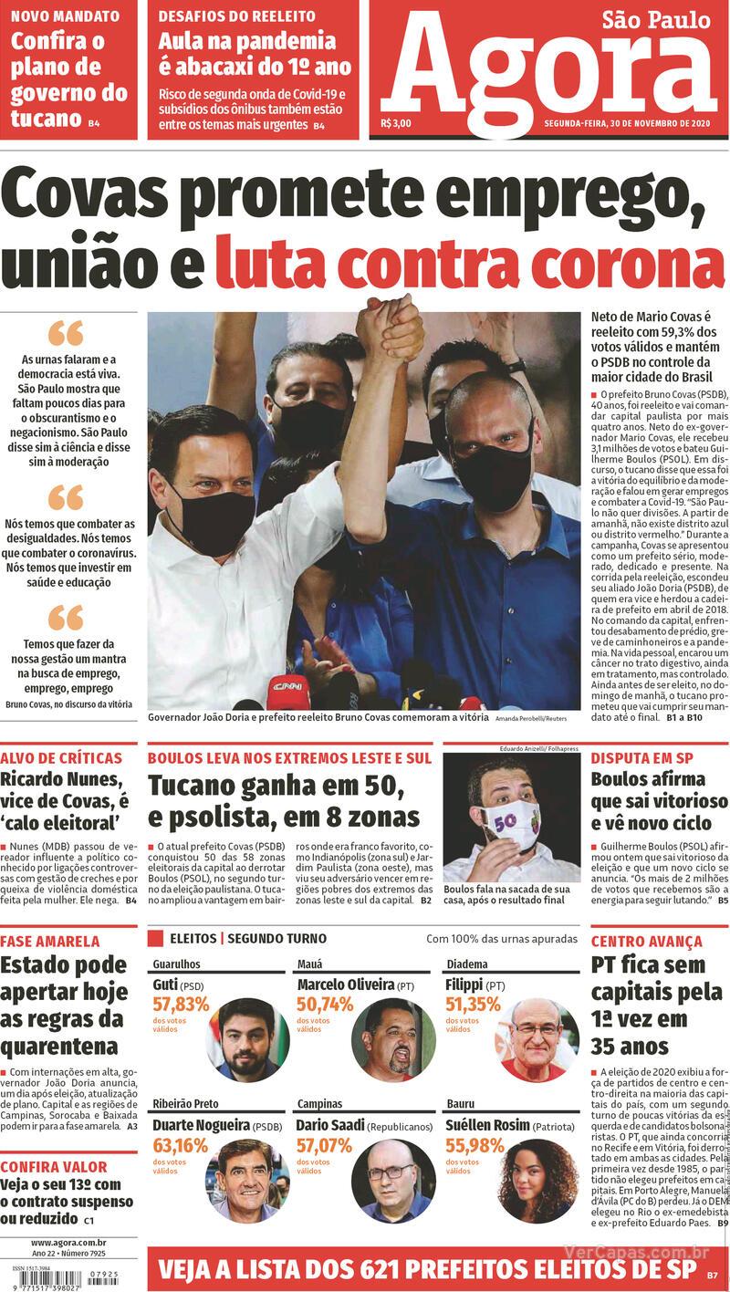 Capa do jornal Agora 30/11/2020