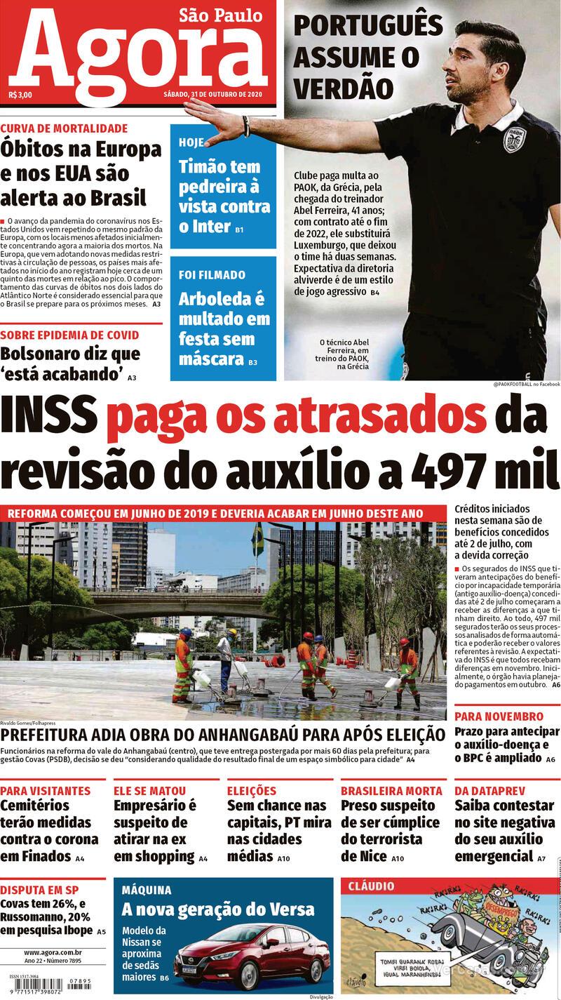 Capa do jornal Agora 31/10/2020