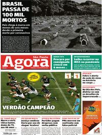 Capa do jornal Agora 09/08/2020