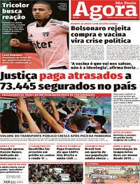 Capa do jornal Agora 22/10/2020