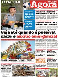 Capa do jornal Agora 28/08/2020
