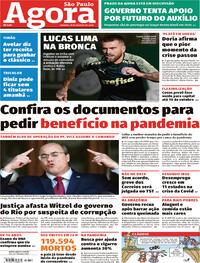 Capa do jornal Agora 29/08/2020