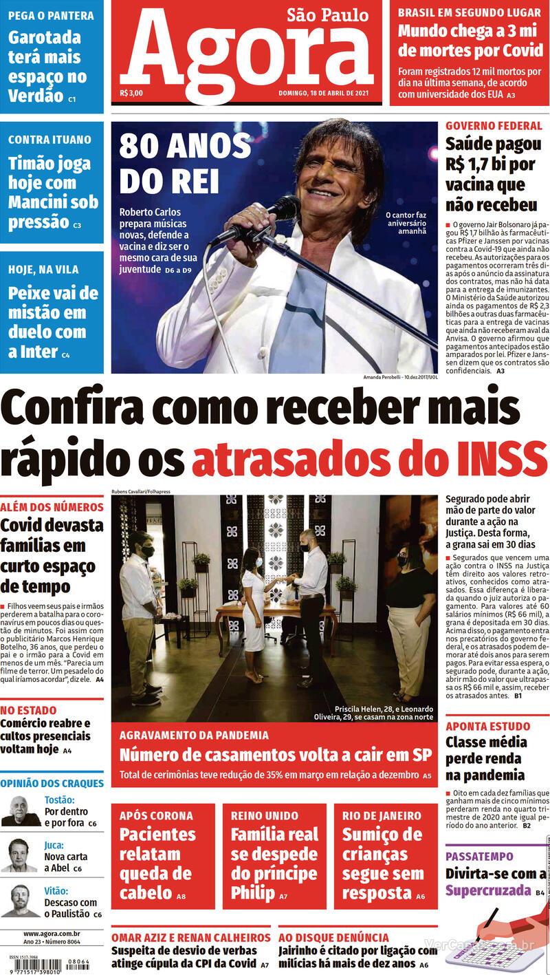 Capa do jornal Agora 18/04/2021