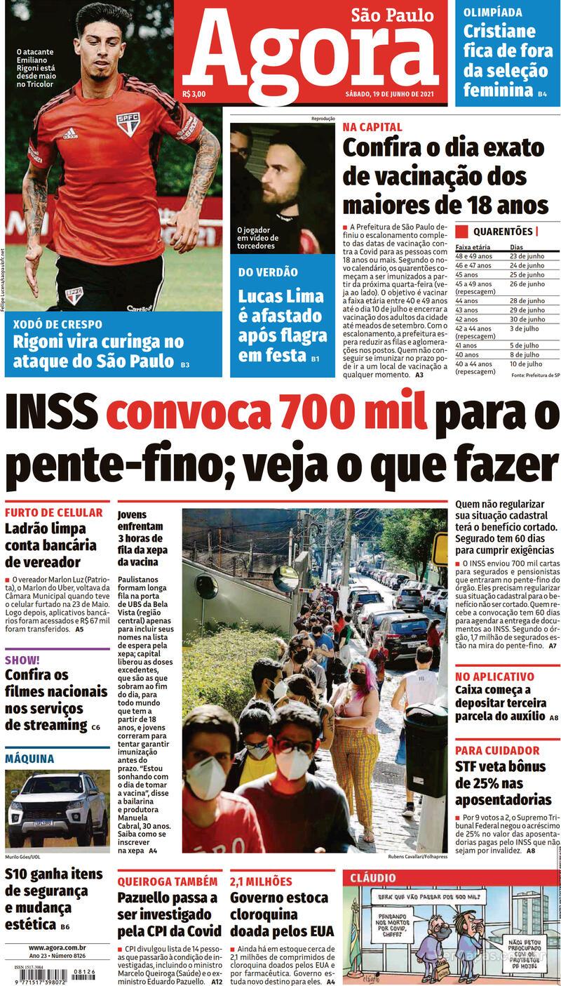 Capa do jornal Agora 19/06/2021