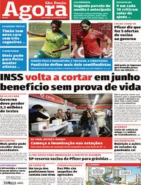 Capa do jornal Agora 14/05/2021