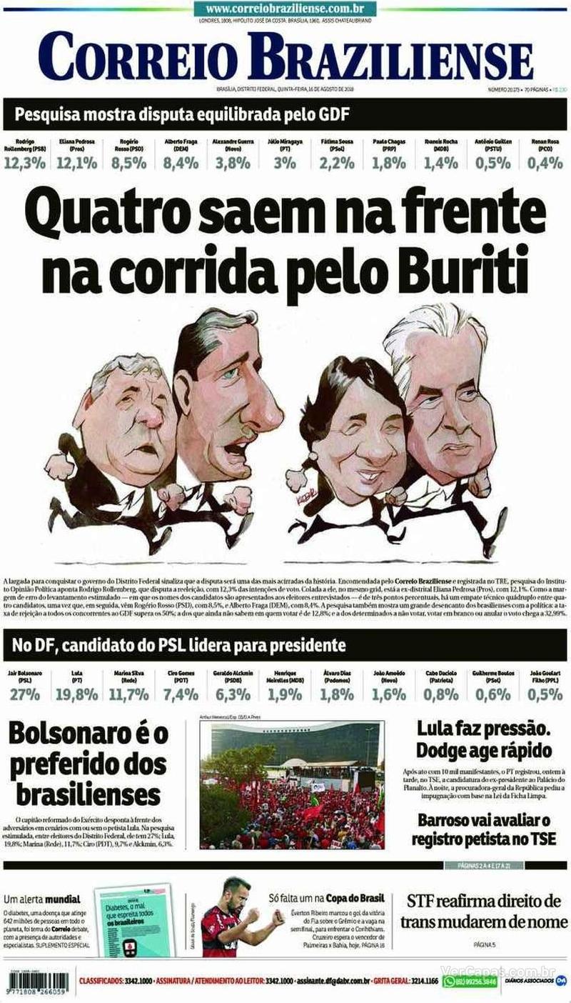Capa Correio Braziliense 2018-08-17